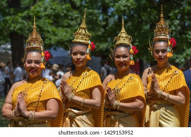 """SOFIA, BULGARIA - June 15, 2019- Thailand performers in traditional costumes participants in Asian Festival Sofia """"Magic Of the East"""""""