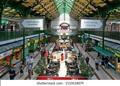 SOFIA, BULGARIA - JUNE 16: Unidentified people in public Central Market, a covered market building with different shops and cafe's, on June 16, 2018 in Sofia, Bulgaria