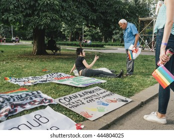 Sofia, Bulgaria - June 18, 2016: Ninth Sofia Gay Pride