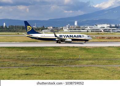 SOFIA, BULGARIA - JUNE, 19, 2017: Ryanair airline airplane Boeing 737 take off from runway