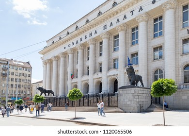 SOFIA, BULGARIA - JUNE 23: People enjoy the sunny weather in front of Sofia Court House in Sofia, Bulgaria on June 23, 2018.