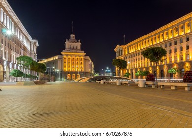 SOFIA, BULGARIA - JUNE 30, 2017: Night photo of Buildings of Council of Ministers and Former Communist Party House in Sofia, Bulgaria