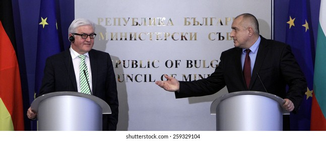 SOFIA, BULGARIA - MARCH 10: Bulgarian Prime Minister Boiko Borisov and German Foreign Minister Frank Walter Steinmeier, during press conference on March 10, 2015 in Sofia.