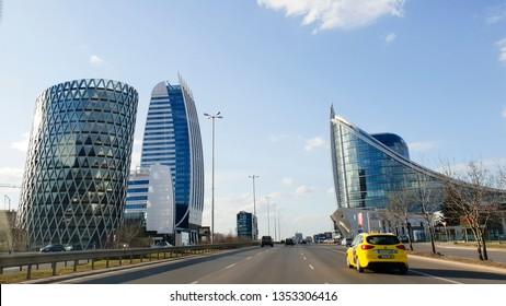 Sofia, Bulgaria-  March 2019- modern office buildings near Tsarigradsko shose street
