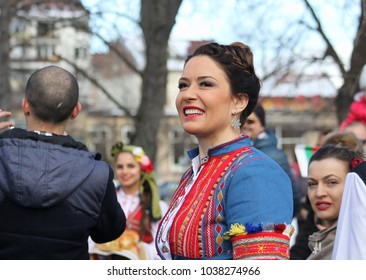 Sofia, Bulgaria, March 3d 2018 Awakening with Horo - an initiative for mass dancing of the Bulgarian traditional dance called horo which takes place on The Liberation Day of Bulgaria, 3d March.