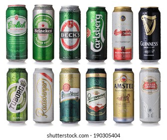 SOFIA, BULGARIA - MAY 01, 2014: Collection of world famous beer brands, isolated on white
