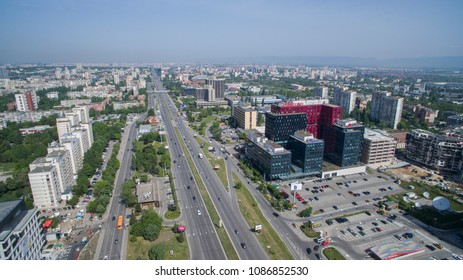 Sofia, Bulgaria, May 1 2018: Aerial view of Tsarigradsko Chaussee boulevard