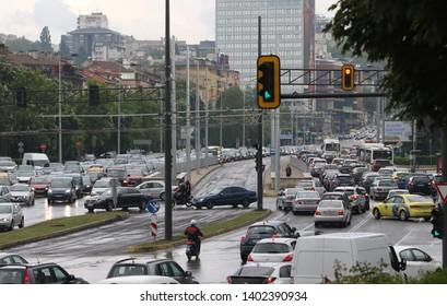 Sofia, Bulgaria - May 15, 2019: Traffic jam in the rush hour Bulgaria Sofia. Busy traffic on boulevards Evlogi i Hristo Georgiev and Cherni Vrah intersection Sofia, Bulgaria