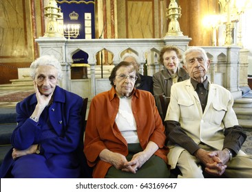 Sofia, Bulgaria - May 18, 2017: Survivors from the Holocaust attend a ministry in the synagogue in Sofia