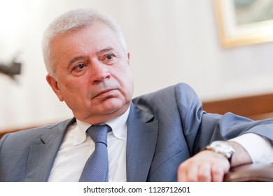 SOFIA, BULGARIA - MAY 19, 2015: Head of LUKOIL Vagit Alekperov answers questions from journalists during his visit in Sofia, Bulgaria.