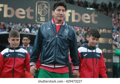 Sofia, Bulgaria - May 20, 2016: Ivan Zamorano out on the field for the start of the a soccer match to celebrate Hristo Stoichkov 50th birthday at Vasil Levski national stadium in Sofia