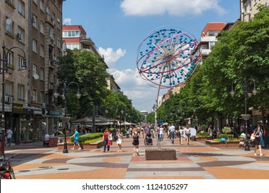 SOFIA, BULGARIA -MAY 20, 2018:  Walking people on Boulevard Vitosha in city of Sofia, Bulgaria