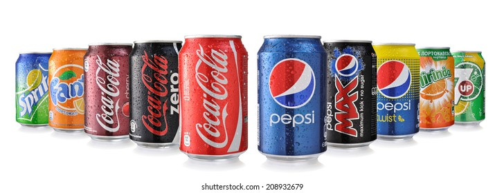 SOFIA, BULGARIA - MAY 23, 2014 Collection of various brands of soda drinks in aluminum cans isolated on white. Brands included in this group are Coca Cola, Pepsi, Sprite, Fanta, 7up, Mirinda,