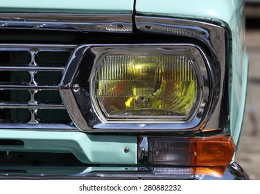 Sofia, Bulgaria - May 23, 2015: Retro parade old retro or vintage car or automobile front side and back side with front lights or headlights and radiator grill.