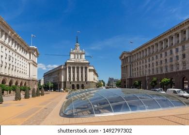 SOFIA, BULGARIA - MAY 31, 2018: Panorama of Nezavisimost (Independence) Square in city of Sofia, Bulgaria
