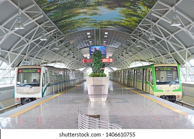 SOFIA, BULGARIA - MAY 4, 2019 - 'Rusich' metro train, produced by Russian Metrovagonmash, at Sofia Airport Metro Station