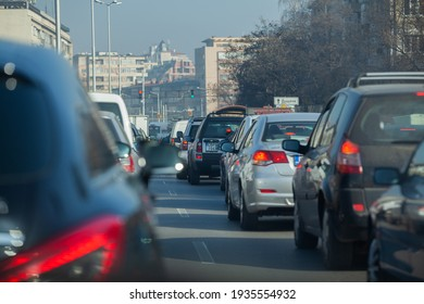 Sofia, Bulgaria - Nov 27 2020: A traffic jam on important crossroad in the capital during the weekend