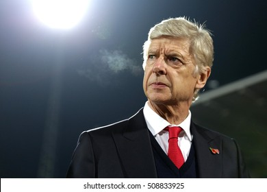 Sofia, Bulgaria - November 1, 2016: Arsebal's coach Arsene Wenger seconds before UEFA Champions League football match between Ludogorets Razgrad and Arsenal at Bulgaria's National Stadium.