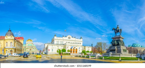 SOFIA, BULGARIA, NOVEMBER 17, 2014: View of the national assembly and Alexander nevski cathedral in Sofia, Bulgaria