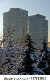 SOFIA, BULGARIA - NOVEMBER 29, 2017:  Sunset view of Business Buildings in city of Sofia, Bulgaria