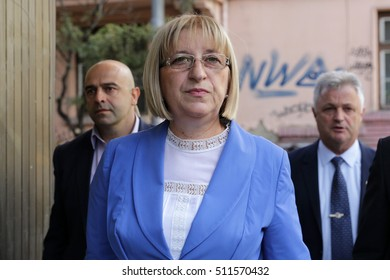 Sofia, Bulgaria - November 7, 2016: The presidential candidate of Bulgaria's ruling centre-right GERB party Tsetska Tsacheva goes to meet with other parties before the second round of the elections.