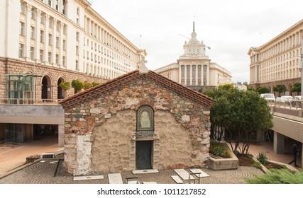 SOFIA, BULGARIA - OCTOBER 08, 2017: St. Petka Samardgijskaya church on Independence square, built in 14 century
