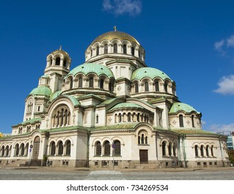 SOFIA, BULGARIA - OCTOBER 08, 2017: orthodox cathedral of Alexander Nevsky, built in 1912 year