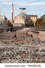 SOFIA, BULGARIA - OCTOBER 08, 2017: Djamilia mosque builg in 1576 and ancient ruins