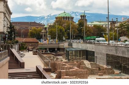 SOFIA, BULGARIA - OCTOBER 09, 2017: Saint Nedelya orthodox cathedral build in 1856 - 1867 year