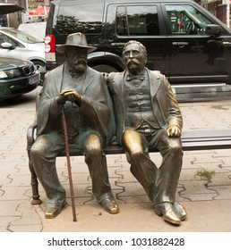 SOFIA, BULGARIA - OCTOBER 09, 2017: monument to father and son Slaveykov on Slaveykov square, classical Bolgarian poets, build in beginning of 21 century.