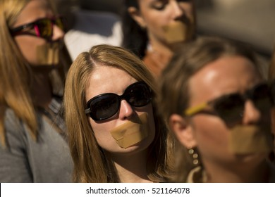 Sofia, Bulgaria - October 1, 2014: Journalists protest with taped mouths against censorship