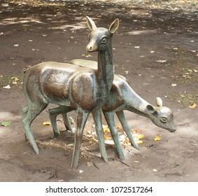 SOFIA, BULGARIA - OCTOBER 10, 2017: Sculpture of little deers in park of Sofia, Bulgaria.