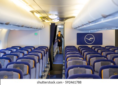 Sofia, Bulgaria - October 16, 2016: The inside of Lufthansa Airbus A380 airplane. The Airbus A380 is a double-deck, wide-body, four-engine jet airliner.