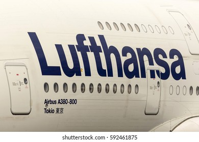 Sofia, Bulgaria - October 16, 2016: Largest passenger aircraft Airbus A380 is seen on Sofia's airport track after landing. Lufthansa logo.