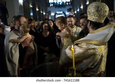 Sofia, Bulgaria, October 22, 2017: Mass christening of young children. Orthodox Christianity.