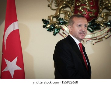 SOFIA, BULGARIA - October 4: Turkish Prime Minister Recep Erdogan pose at Council of Minister's office during his one day official visit to the Bulgarian capital Sofia, on October 4, 2010.