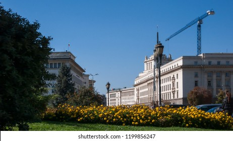 SOFIA, BULGARIA - OCTOBER 5, 2018:  Buildings Former Communist Party House in Sofia, Bulgaria