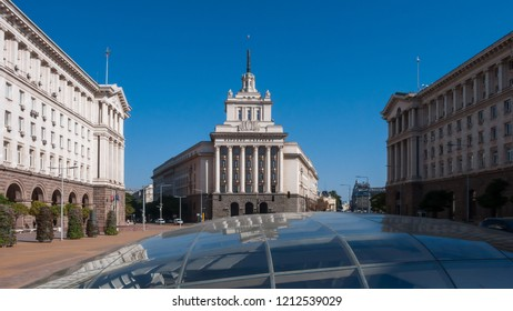 SOFIA, BULGARIA - OCTOBER 5, 2018: Buildings of Council of Ministers and Former Communist Party House in Sofia, Bulgaria