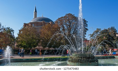SOFIA, BULGARIA - OCTOBER 5, 2018:  Panorama of Banski Square in city of Sofia, Bulgaria
