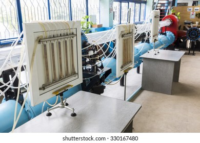 Sofia, Bulgaria - October 7, 2015: Inside of a student's laboratory in a physics school for the students to research. Blue tubes.