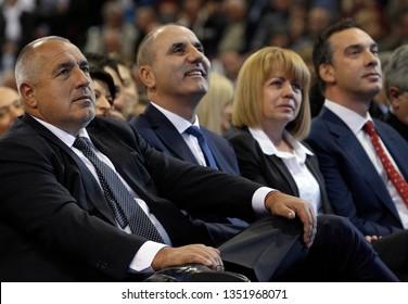 SOFIA, BULGARIA - OCTOBER 9: Bulgarian Prime Boyko Borisov (L-R) and GERB Vice-Pres Tsvetan Tsvetanov, Yordanka Fandakova and Dimitar Nikolov during launching 2016 Presidential Campaign, Oct 9, 2016