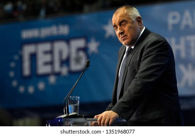 SOFIA, BULGARIA - OCTOBER 9: Bulgarian prime minister and head of political party GERB Boyko Borisov greets attendees, during launching 2016 Presidential Campaign, Oct 9, 2016, Sofia, Bulgaria.