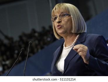 SOFIA, BULGARIA - OCTOBER 9: GERB's presidential candidate Tsetska Tsacheva spoke during launching 2016 Presidential Campaign, Oct 9, 2016, Sofia, Bulgaria.
