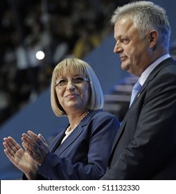 SOFIA, BULGARIA - OCTOBER 9: GERB's presidential and vice-pres candidates Tsetska Tsacheva and Plamen Manushev are smiling during launching 2016 Presidential Campaign, Oct 9, 2016, Sofia, Bulgaria.