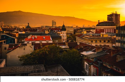 Sofia Bulgaria on a sunset, dreamy picture in an interesting perspective