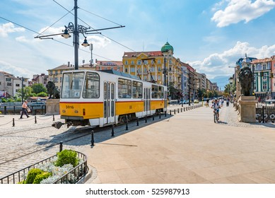 SOFIA, BULGARIA - SEP 2: Sofia tramway network in Sofia, Bulgaria on September 2, 2016. Sofia is the capital and largest city of Bulgaria.