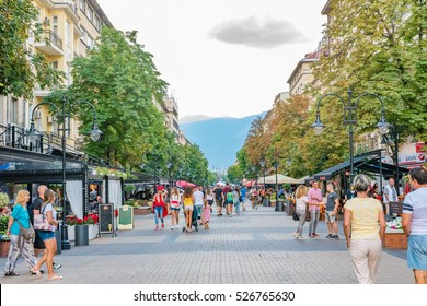 SOFIA, BULGARIA - SEP 3: Street view of Vitosha Boulevard in Sofia, Bulgaria on September 3, 2016. Sofia is the capital and largest city of Bulgaria.