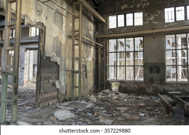 Sofia, Bulgaria - September 04, 2013: Destryed former locomotive factory in Sofia, Bulgaria.