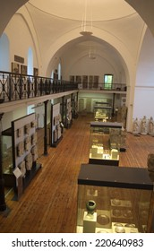 SOFIA, BULGARIA, SEPTEMBER 16, 2014: View over collections inside historical museum in sofia.