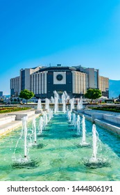 SOFIA, BULGARIA, SEPTEMBER 2, 2018: A beautiful fountain in front of the national palace of culture in Sofia, Bulgaria